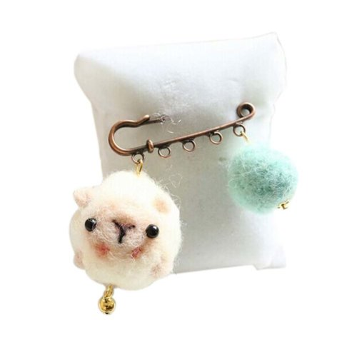 Cute Cartoon Animal Wool Felt Brooch Pin Clothing Accessories, Sheep