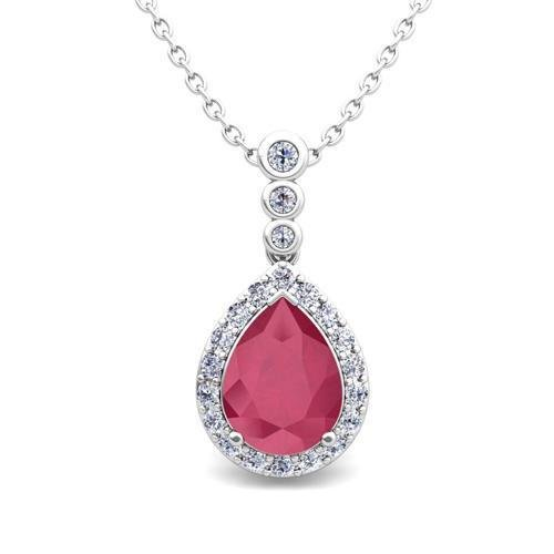 Red Ruby With White Diamonds 4.50 Carats Pendant Necklace Gold White 14K