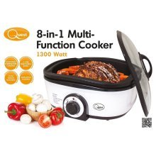 8 in 1 Multi Functional Cooker Slow Cook Steam Grill Roasting Frying Baking 1300W