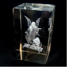 Laser Crystal Block with Angel and Children Image Paperweight Ornament