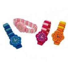Bracelet Wooden Watch 14cm 6 Astd -  party bag wooden watch bracelet filler toys novelty kids childrens design loot stocking assorted designs