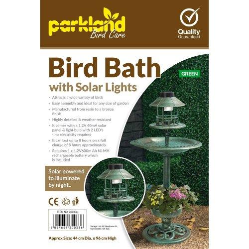 Green Bird Hotel Feeder & Bath With Solar Light Garden Ornamental Table Station