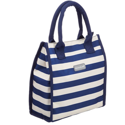 KitchenCraft Lulworth 4 Litre Blue Stripe Lunch And Snack Cool Bag