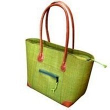 Madagascar Large Vero Raffia Olive Green Handbag