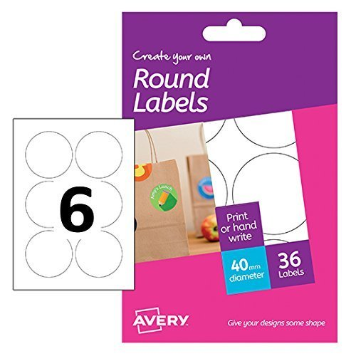 Avery Create Your Own Self-Adhesive Removable Round Labels, 6 Labels Per A6  Sheet