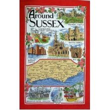Around Sussex Tea Towel Souvenir Gift Map Eastbourne Abbey Battle Cathedral Rye