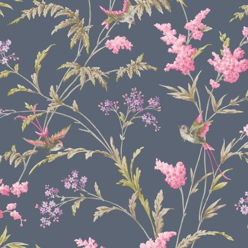 Holden Decor Jasmine Floral Pattern Wallpaper Bird Flower Leaf Modern Glitter[NAVY PINK 98842]