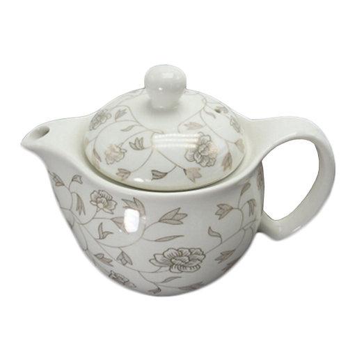 White Ceramic Tea Kettle Creative Tea pot With Tea Infuser,floral axis