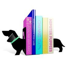 Mustard Book Ends - Black Really Long Sausage Dog Bookends - I Metal Shelves -  i metal bookends mustard shelves storage books dvds cds funny gift