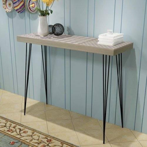 vidaXL Grey Patterned Console Table 90 x 30 x 71.5cm