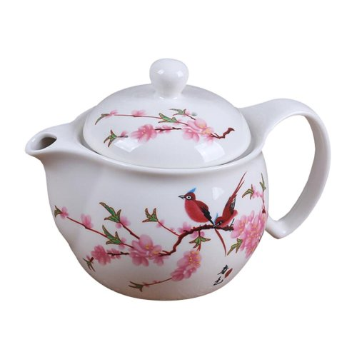 Red Flower and Birds Pattern Teapot with Lid and Infuser