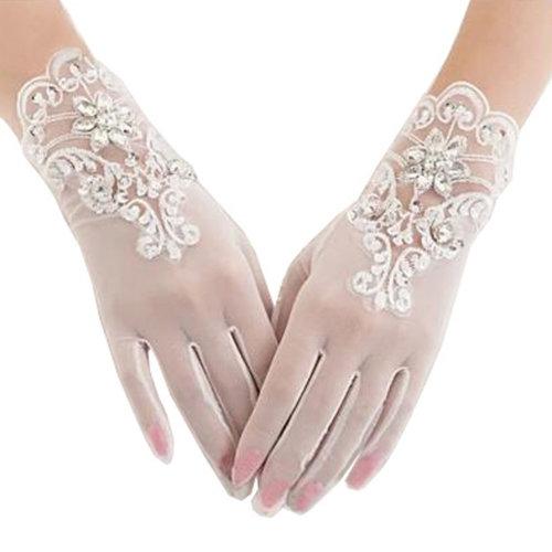 Elegant Lady Formal Banquet Party Bride Pierced Lace Wedding Gloves Bridal Gloves, NO.9