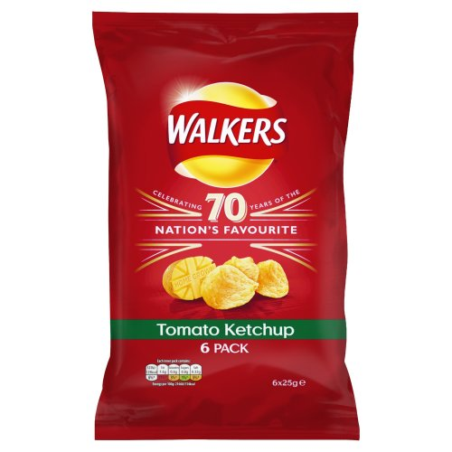 Walkers Tomato Ketchup Crisps, 25 g (Pack of 6)