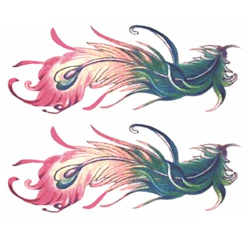 2 Sheets Colorful Peacock Feathers Women Makeup Art Stickers Abdomen Temporary Tattoos Fake Tattoos Tattoo Sticker