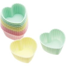3.5cm Mini 12 Pack Of Silicone Heart Shaped Cupcake Cases