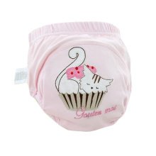 Lovely Cartoon Animal Pattern Baby Elastic Cloth Diaper Cover (M,9-11KG,Cat)