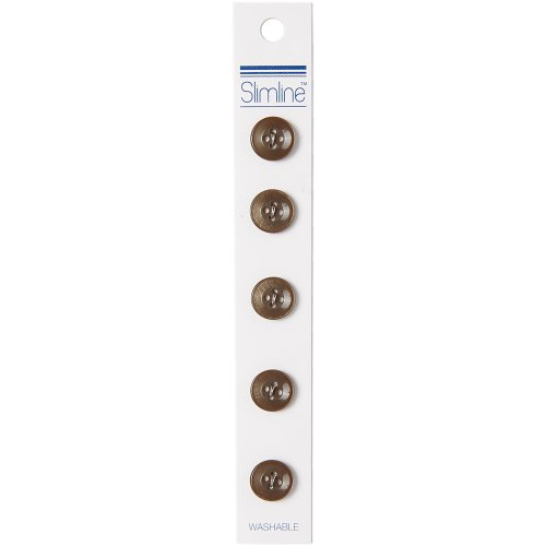 "Slimline Buttons Series 1-Brown 4-Hole 1/2"" 5/Pkg"