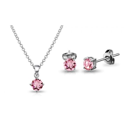 Light Pink Solitaire Set Created with Swarovski Crystals