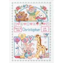 """Dimensions Counted Cross Stitch Kit 10""""X14""""-Birth Record For Baby (14 Count)"""