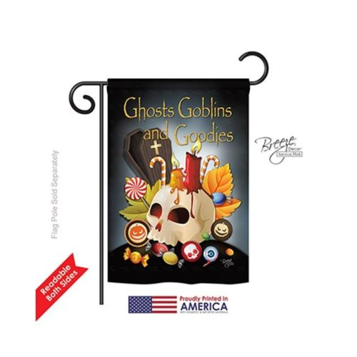 Breeze Decor 62007 Halloween Ghosts Goblins & Goodies 2-Sided Impression Garden Flag - 13 x 18.5 in.