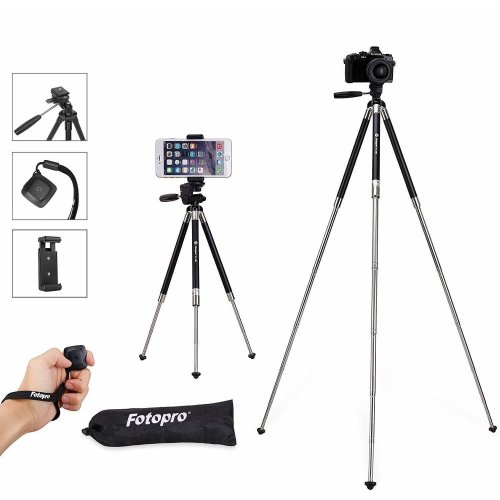 Fotopro Phone Tripod, 39.5 Inches Lightweight Compact Travel Tripod with Universal Smartphone Holder & Bluetooth Remote Control in 3-Way Swivel Pan...