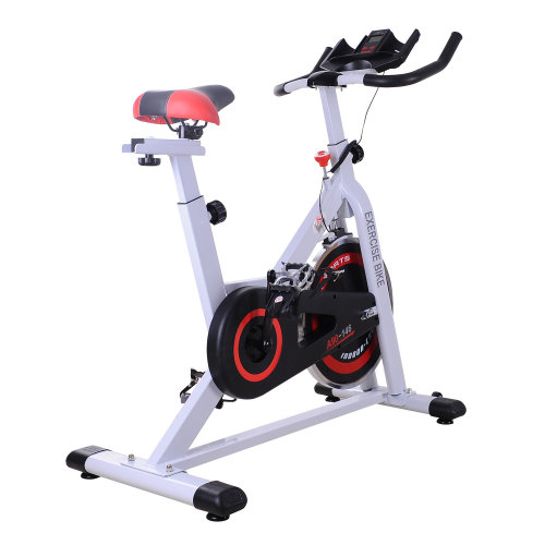 HOMCOM Adjustable Racing Exercise Bike W/Resistance-White/Red/Black