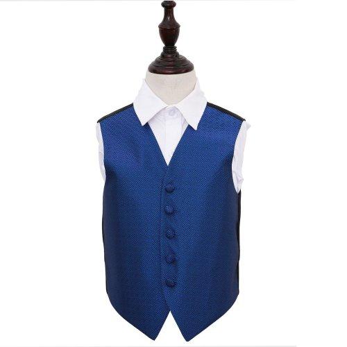 Royal Blue Greek Key Wedding Waistcoat for Boys 26'