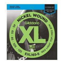 D'Addario EXL165-5  5-String Bass Strings, Custom Light 45-135, Long Scale