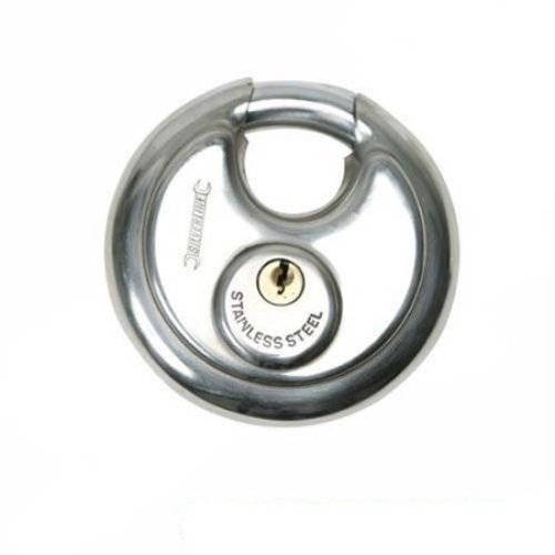 70mm Silverline Disc Padlock - Steel Stainless 292707 Security -  disc padlock 70mm steel silverline stainless 292707 security