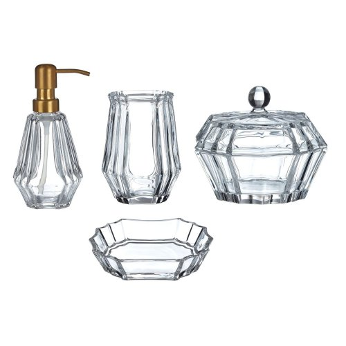 Ticino Louvre Clear Glass Basin Accessories