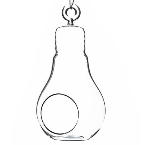 Athenas Garden HCH0606 6 x 3 in. Clear Bulb Hanging Glass Terrarium & Candle Holder, Set of 2