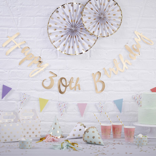 Gold Happy 30th Birthday Bunting Cut Out Word Banner - Party Decoration