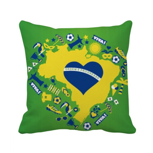 Heart-shaped Orderm Brazil Maps Throw Pillow Square Cover
