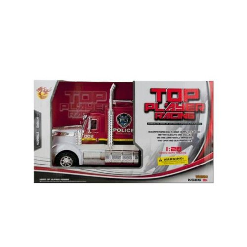 Kole Imports KL254-4 13.5 x 5.12 in. Friction Powered Police Semi-Trailer Truck, Pack of 4