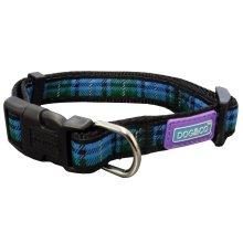 "3/4"" x 14-18"" Blue Tartan Adjustable Dog Collar -  dog collar tartan blue hem boo nylon medium adjustable"