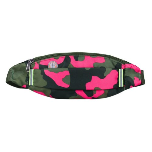 Outdoor Sports And Leisure Large Capacity Fashion Waist Bag, Camouflage Rose Red
