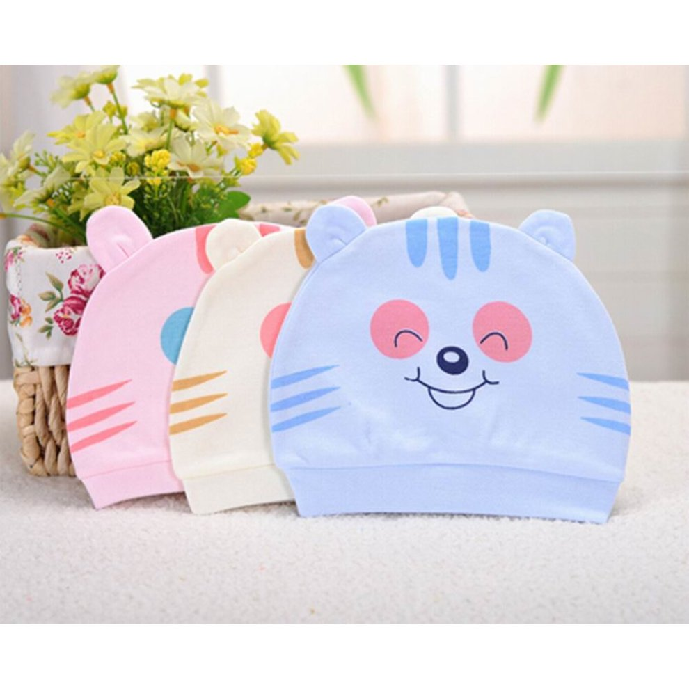 23539449175 ... Set of 3 Cute Baby Hats Infant Caps Newborn Baby Cotton Hat Tiger Blue  - 1.