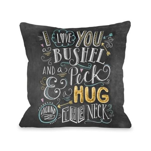 One Bella Casa 73558PL16 Bushel & Peck Pillow by Lily & Val, Gray & Multi Color - 16 x 16 in.