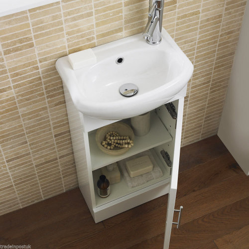 Cloakroom Vanity Unit Gloss White 400 Wide Basin Sink Cabinet
