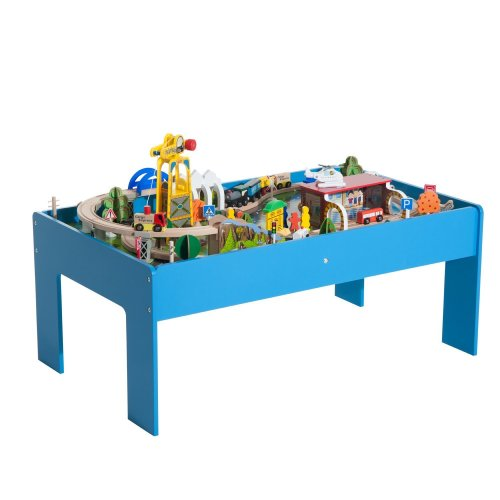 Homcom 83pc Wooden Train Playset   Kids' Train Table