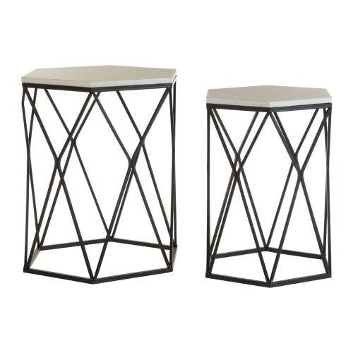 Arcana Side Tables, White Marble / Black Steel, Hexagonal / Set of 2 - BLPH9103
