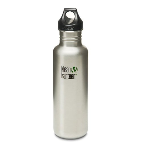 Klean Kanteen Classic 800ml Water Bottle with Loop Cap (Brush Stainless)