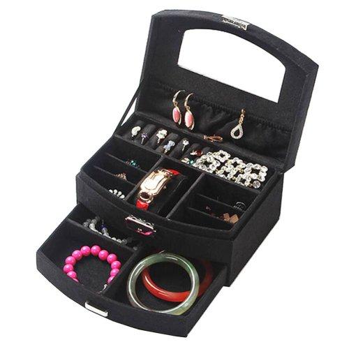 Portable Stylish Jewelry Box Ornaments Storage Boxes Jewelry Organizer -Black