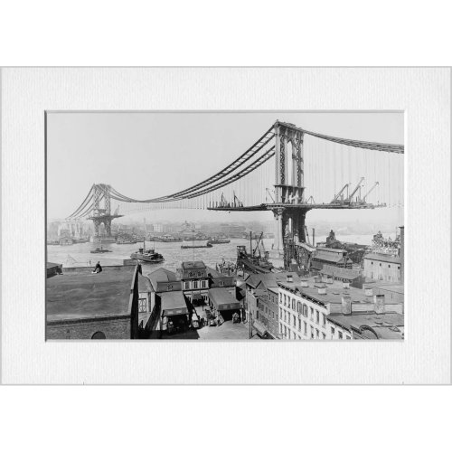Manhattan Bridge Construction NYC Print in a Textured Card Picture Mount to put into your own frame