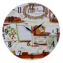 Obique Home Decoration Book & Cafe de Paris Scene 34cm MDF Wall Clock