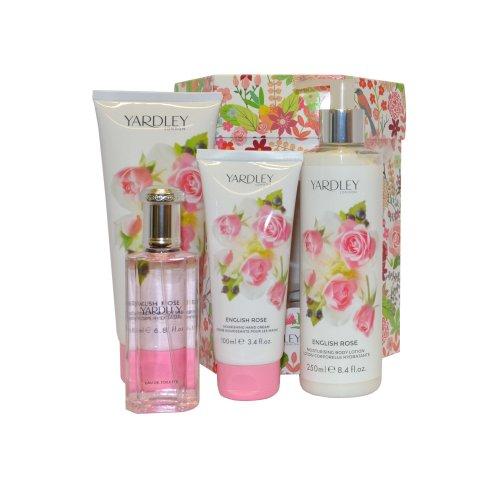 Yardley English Rose Eau de Toilette Spray 50ml, Lotion 250ml Body Wash 200ml , Hand Cream 100ml