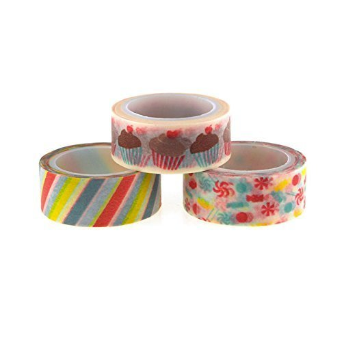 Homeford FMC000ST568L Masking Washi 5 yd Tape 3 Pack 5 8 Sweet Treats