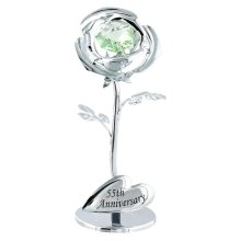 """""""55th Anniversary"""" Silver Plated Flower with Green Swarovski Crystal Glass by Happy Homewares"""