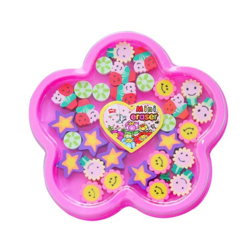 Flower Pattern Pencil Erasers - Great as Classroom Prizes, Party Favors and More 2Pcs