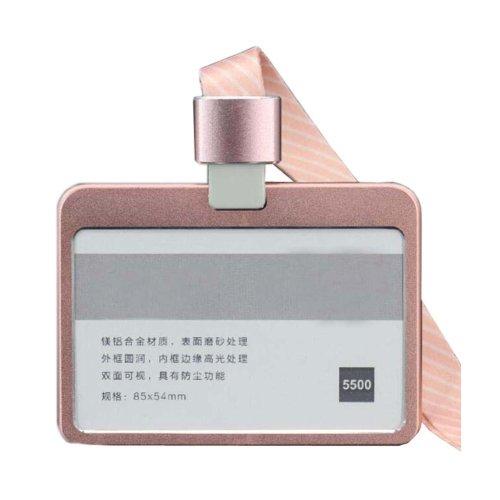 Aluminum Alloy Horizontal ID Card Badge Holder with Neck Lanyard Strap 3PCS, 41